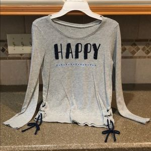 """Justice size 8 long sleeved """"Happy"""" T-shirt"""
